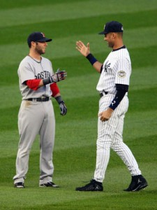 Jeter and Pedroia greet each other before a game in New York.