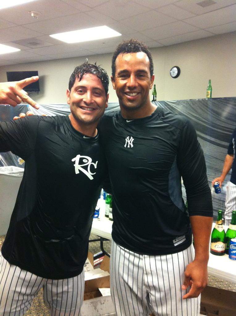 Francisco Cervelli and Chris Dickerson celebrating as the Scranton/Wilkes-Barre Yankees won their fifth division title in six seasons (Photo Credit: Chris Dickerson on Twitter)