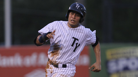 Ramon Flores homered in his second Double-A at-bat (Photo Credit: Mark LoMoglio/Tampa Yankees)
