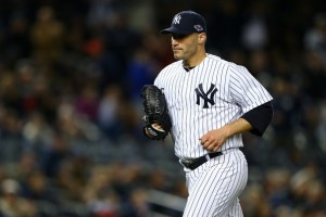 Pettitte had a hard time keeping runners off base, walking four and hitting one today. (Source: Al Bello/Getty Images North America)