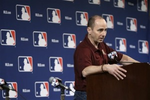 Brian Cashman updating the media on Tuesday night (Associated Press photo)