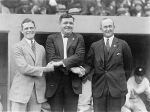 10/4/1924 | Babe Ruth & Ty Cobb (flanked by George Sisler) share a more relaxed moment than they had earlier that season (Photo courtesy of Wikimedia Commons)