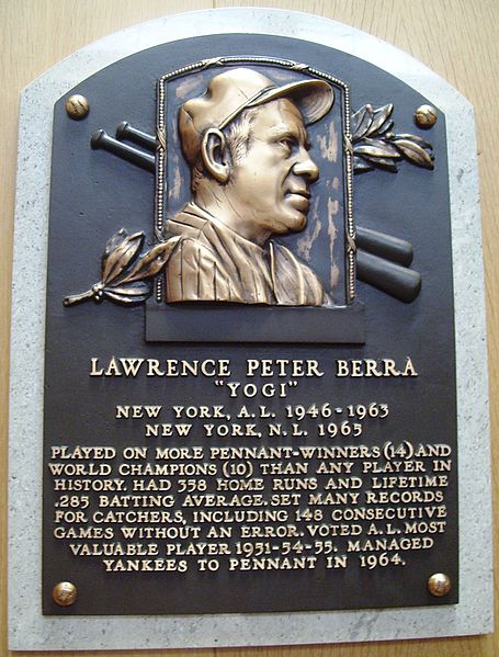Berra's plaque hangs in Cooperstown (Photo courtesy of Wikimedia Commons)