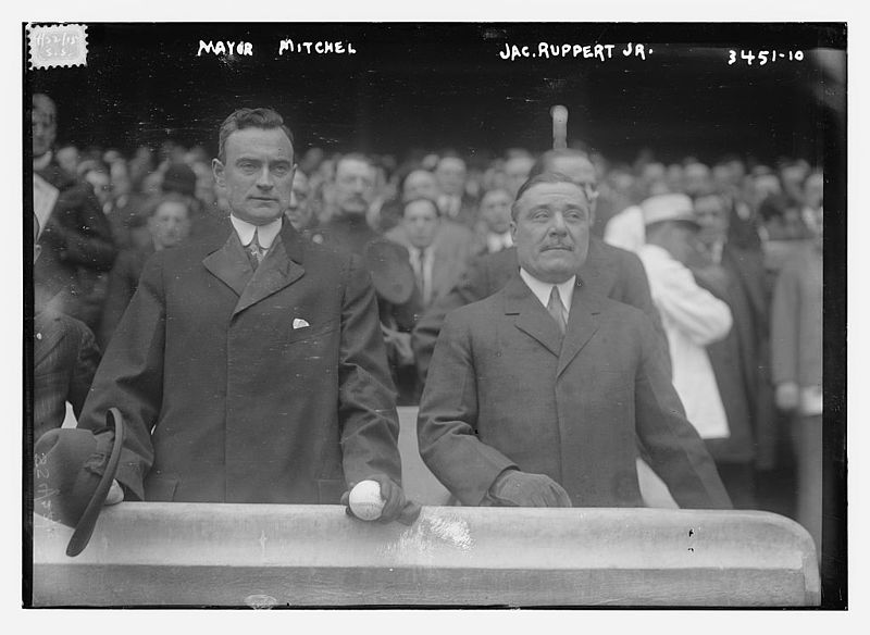 4/22/1915 | Ruppert (right) and NYC Mayor John Purroy Mitchel take in the Yankees' home opener (Photo courtesy of Wikimedia Commons)
