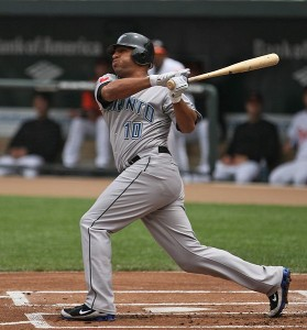 Vernon Wells got three hits against his former team today.