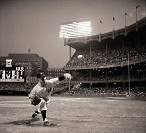Ford beneath the Stadium lights in 1955 (Photo courtesy of the New York Times)
