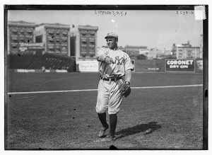 Hack Simmons warms up before a game at Hilltop in 1912 (Photo Courtesy of Baseball-Fever)