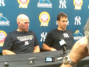 Kevin Youkilis and Mark Teixeira meet the media after their rehab game Wednesday (Photo Credit: Dan Pfeiffer)