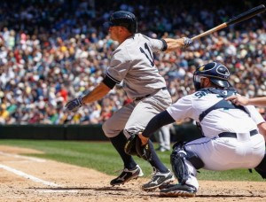Brett Gardner getting one of his four hits in today's win. (Photo by Otto Greule Jr/Getty Images)