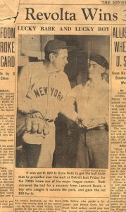 Ruth (in the above clipping from July 17, 1934) paid a boy $20 in exchange for his 700th home run ball (Flickr)