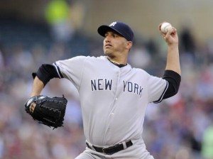 Andy Pettitte became the all-time Yankees strikeout leader but came out with a no-decision in tonight's win. (Photo by Hannah Foslien/Getty Images)