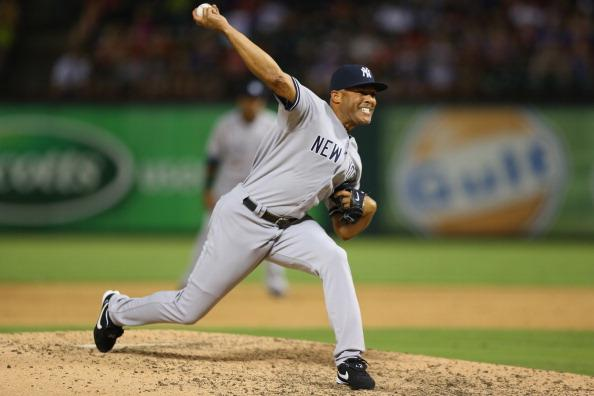 Mariano Rivera struck out two in his 32nd save of the season to complete the comeback. (Photo by Ronald Martinez/Getty Images)