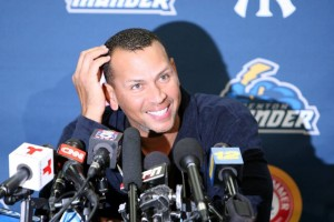 Alex Rodriguez meeting with the media in Trenton on Friday night (Photo: Trenton Thunder/Facebook.com)