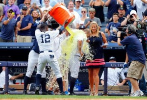 Gatorade shower by Alfonso Soriano and David Robertson for walk-off winner, Brett Gardner. (Photo by Jim McIsaac/Getty Images)