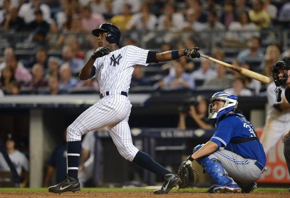 Alfonso Soriano hit the go-ahead two-run home run in tonight's win. (Photo by Ron Antonelli/Getty Images)