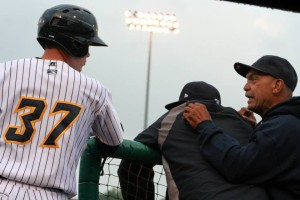 Hours after comparing O'Brien to himself, Reggie Jackson giving advice to the young power hitter. (Trenton Thunder/Facebook.com)