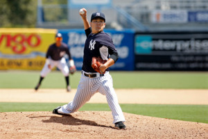Masahiro Tanaka Pitches in Simulated Game
