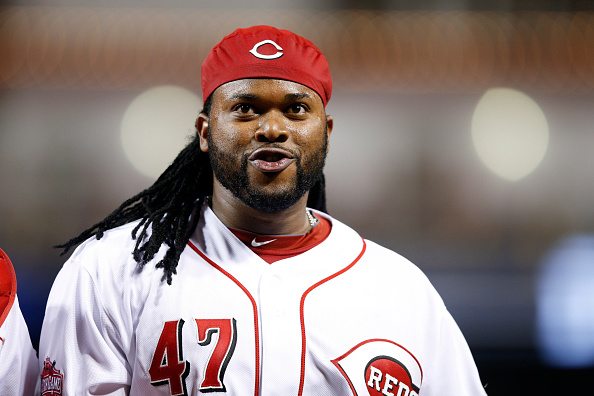CINCINNATI, OH - MAY 14: Johnny Cueto #47 of the Cincinnati Reds looks on against the San Francisco Giants during the game at Great American Ball Park on May 14, 2015 in Cincinnati, Ohio. The Reds defeated the Giants 4-3. (Photo by Joe Robbins/Getty Images)
