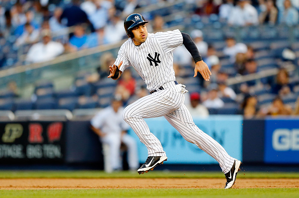 NEW YORK, NY - MAY 07:  (NEW YORK DAILIES OUT)    Jacoby Ellsbury #22 of the New York Yankees in action against the Baltimore Orioles at Yankee Stadium on May 7, 2015 in the Bronx borough of New York City. The Yankees defeated the Orioles 4-3.  (Photo by Jim McIsaac/Getty Images)