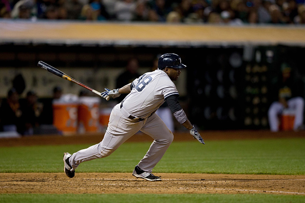 OAKLAND, CA - MAY 30:  Jose Pirela #38 of the New York Yankees at bat against the Oakland Athletics during the fifth inning at O.co Coliseum on May 30, 2015 in Oakland, California. The New York Yankees defeated the Oakland Athletics 5-3. (Photo by Jason O. Watson/Getty Images)