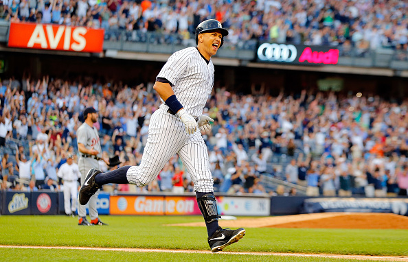 NEW YORK, NY - JUNE 19:  (NEW YORK DAILIES OUT)   Alex Rodriguez #13 of the New York Yankees celebrates as he runs the bases after his 3,000th career hit, a first inning home run,  as Justin Verlander #35 of the Detroit Tigers looks on at Yankee Stadium on June 19, 2015 in the Bronx borough of New York City. The Yankees defeated the Tigers 7-2.  (Photo by Jim McIsaac/Getty Images)