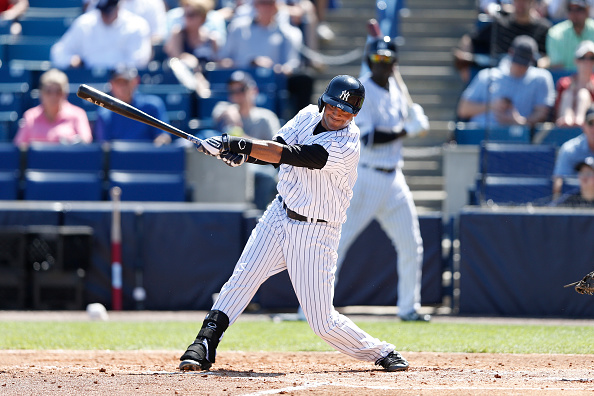 TAMPA, FL - MARCH 4: Mason Williams #80 of the New York Yankees bats against the Philadelphia Phillies during the game at George M. Steinbrenner Field on March 4, 2015 in Tampa, Florida. The Phillies defeated the Yankees 3-1. (Photo by Joe Robbins/Getty Images)