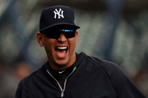 DETROIT, MI - OCTOBER 18:  Alex Rodriguez #13 of the New York Yankees laughs during batting practice against the Detroit Tigers during game four of the American League Championship Series at Comerica Park on October 18, 2012 in Detroit, Michigan.  (Photo by Jonathan Daniel/Getty Images)