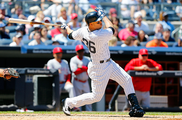 NEW YORK, NY - JUNE 07:  Carlos Beltran #36 of the New York Yankees in action against the Los Angeles Angels of Anaheim at Yankee Stadium on June 7, 2015 in the Bronx borough of New York City. The Yankees defeated the Angels 6-2.  (Photo by Jim McIsaac/Getty Images)