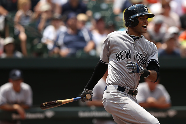 BALTIMORE, MD - JUNE 14: Mason Williams of the New York Yankees in action against the Baltimore Orioles at Oriole Park at Camden Yards on June 14, 2015 in Baltimore, Maryland. The New York Yankees won, 5-3. (Photo by Patrick Smith/Getty Images)