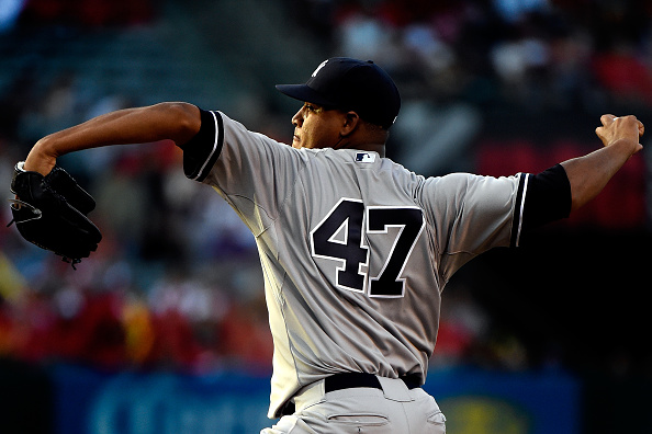 ANAHEIM, CA - JUNE 30:  Ivan Nova #47 of the New York Yankees pitches in the first inning against the Los Angeles Angels of Anaheim at Angel Stadium of Anaheim on June 30, 2015 in Anaheim, California.  (Photo by Lisa Blumenfeld/Getty Images)