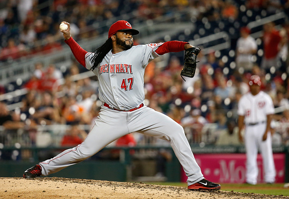 WASHINGTON, DC - JULY 07:  Starting pitcher Johnny Cueto #47 of the Cincinnati Reds throws to a Washington Nationals batter in the ninth inning of the Reds 5-0 win at Nationals Park on July 7, 2015 in Washington, DC.  (Photo by Rob Carr/Getty Images)