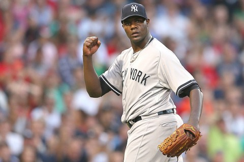 BOSTON, MA - JULY 10: Michael Pineda #35 of the New York Yankees reacts after a double play against the Boston Red Sox in the third inning at Fenway Park on July 10, 2015 in Boston, Massachusetts.  (Photo by Jim Rogash/Getty Images)