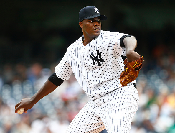NEW YORK, NY - JULY 18: Pitcher Michael Pineda #35 of the New York Yankees delivers a pitch against the Seattle Mariners during the first inning of a MLB baseball game at Yankee Stadium on July 18, 2015 in the Bronx borough of New York City. (Photo by Rich Schultz/Getty Images)