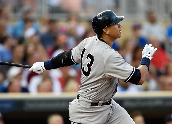 MINNEAPOLIS, MN - JULY 25: Alex Rodriguez #13 of the New York Yankees watches after hitting a two-run home run against the Minnesota Twins during the seventh inning of the game on July 25, 2015 at Target Field in Minneapolis, Minnesota. (Photo by Hannah Foslien/Getty Images)