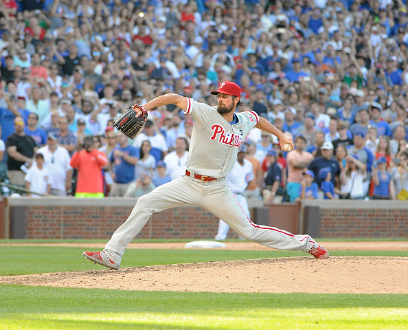 CHICAGO, IL - JULY 25:  on July 25, 2015 at Wrigley Field in Chicago, Illinois. Cole Hamels #35 of the Philadelphia Phillies pitched a no hitter. The Philliess won 5-0. (Photo by David Banks/Getty Images) *** Local Caption ***