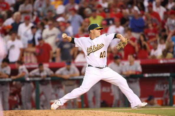 ANAHEIM, CA - JULY 13: American League All-Star Andrew Bailey #40 of the Oakland Athletics pitching during the 81st MLB All-Star Game at Angel Stadium of Anaheim on July 13, 2010 in Anaheim, California. NL defeated AL  3-1. (Photo by Michael Zagaris/Getty Images)