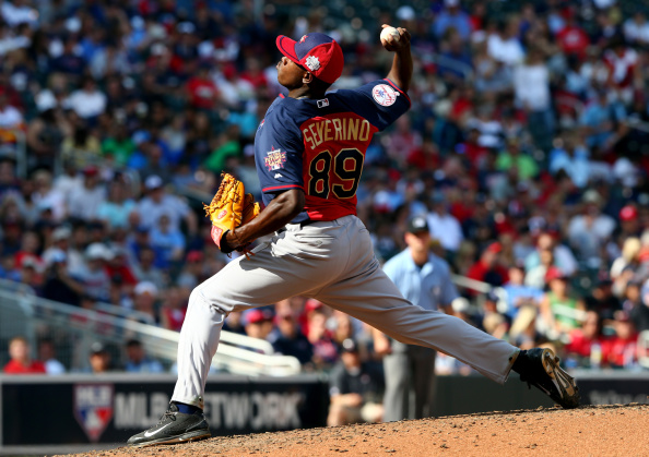 MINNEAPOLIS, MN - JULY 13:  Luis Severino of the World Team during the SiriusXM All-Star Futures Game at Target Field on July 13, 2014 in Minneapolis, Minnesota.  (Photo by Elsa/Getty Images)