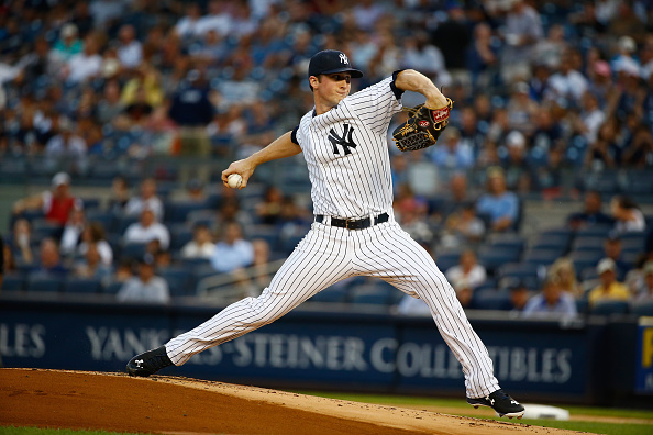 NEW YORK, NY - AUGUST 17:  Bryan Mitchell #55 of the New York Yankees pitches against the Minnesota Twins during their game at Yankee Stadium on August 17, 2015 in New York City.  (Photo by Al Bello/Getty Images)