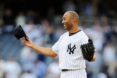 NEW YORK, NY - SEPTEMBER 19:  Mariano Rivera  #42 of the New York Yankees reacts after becoming the all-time leader in saves after defeating the Minnesota Twins at Yankee Stadium on September 19, 2011 in the Bronx borough of New York City. Rivero recorded his 602 save.  (Photo by Patrick McDermott/Getty Images)