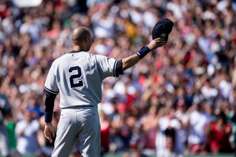 BOSTON, MA - SEPTEMBER 28: Derek Jeter #2 of the New York Yankees tips his cap to the crowd after being introduced during the final game of his career against the Boston Red Sox on September 28, 2014 at Fenway Park in Boston, Massachusetts. Photo by Michael Ivins/Boston Red Sox/Getty Images)