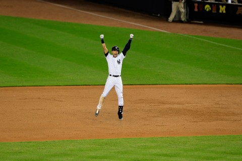 NEW YORK, NY - SEPTEMBER 25:  Derek Jeter #2 of the New York Yankees celebrates after a game winning RBI hit in the ninth inning against the Baltimore Orioles in his last game ever at Yankee Stadium on September 25, 2014 in the Bronx borough of New York City.  (Photo by Alex Trautwig/Getty Images)