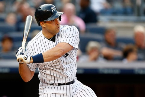 NEW YORK, NY - AUGUST 6: Mark Teixeira #25 of the New York Yankees in action against the Boston Red Sox during a MLB baseball game at Yankee Stadium on August 6, 2015 in the Bronx borough of New York City. (Photo by Rich Schultz/Getty Images)