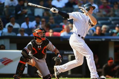 NEW YORK, NY - SEPTEMBER 07: Greg Bird #31 of the New York Yankees hits a three run home run against the Baltimore Orioles in the seventh inning at Yankee Stadium on September 7, 2015 in New York City. (Photo by Andy Marlin/Getty Images)