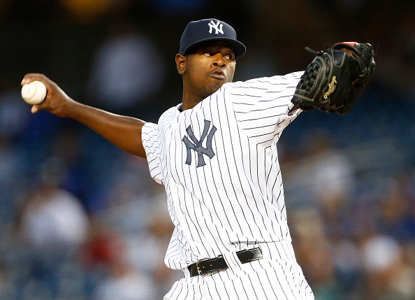 NEW YORK, NY - SEPTEMBER 11: Pitcher Luis Severino #40 of the New York Yankees delivers a pitch against the Toronto Blue Jays during the first inning of a MLB baseball game at Yankee Stadium on September 11, 2015 in the Bronx borough of New York City. (Photo by Rich Schultz/Getty Images)