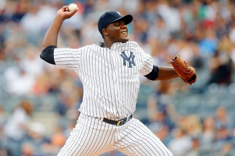 NEW YORK, NY - SEPTEMBER 12:  Michael Pineda #35 of the New York Yankees pitches in the first inning against the Toronto Blue Jays at Yankee Stadium on September 12, 2015 in the Bronx borough of New York City.  (Photo by Jim McIsaac/Getty Images)