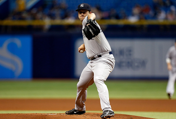 ST. PETERSBURG, FL - SEPTEMBER 15:  Adam Warren #43 of the New York Yankees pitches during the first inning of a game against the New York Yankees on September 15, 2015 at Tropicana Field in St. Petersburg, Florida.  (Photo by Brian Blanco/Getty Images)