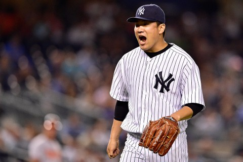 NEW YORK, NY - SEPTEMBER 08:  Masahiro Tanaka #19 of the New York Yankees reacts after retiring the side in the fifth inning against the Baltimore Orioles at Yankee Stadium on September 8, 2015 in New York City.  (Photo by Steven Ryan/Getty Images)