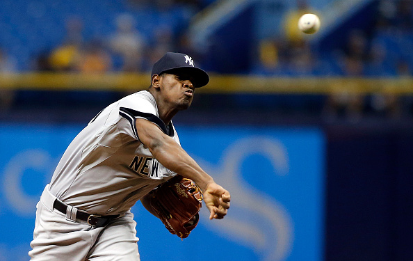 ST. PETERSBURG, FL - SEPTEMBER 16:  Luis Severino #40 of the New York Yankees pitches during the first inning of a game against the Tampa Bay Rays on September 16, 2015 at Tropicana Field in St. Petersburg, Florida.  (Photo by Brian Blanco/Getty Images) *** Local Caption *** Luis Severino