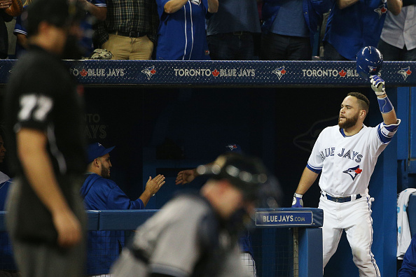 TORONTO, ON - SEPTEMBER 23  -  Toronto's Russell Martin takes a curtain call after hitting a 3 run homer in the 7th inning during the American League baseball game between the Toronto Blue Jays and the New York Yankees at Rogers Centre on September 23, 2015.        (Carlos Osorio/Toronto Star via Getty Images)