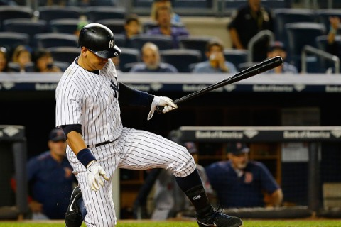 during their game at Yankee Stadium on September 28, 2015 in New York City.
